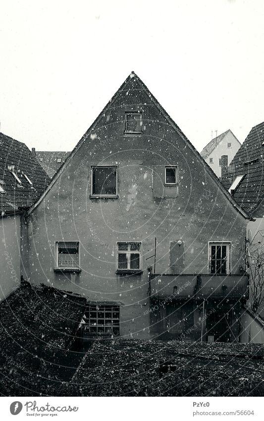 Hinterhof weiß Haus schwarz dunkel Schnee Garten Wetter Bauernhof verfallen Ruine Hinterhof Nachbar