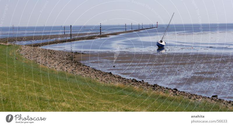 auf dem trockenen Wasser Meer Wasserfahrzeug Insel Hafen Nordsee Segelboot Jacht Wattenmeer Ebbe Sportboot