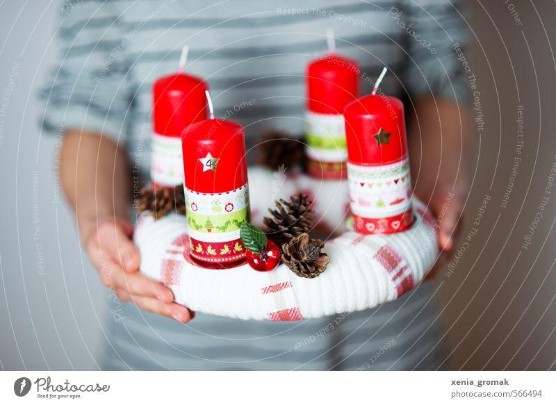 Advent! Advent! Weihnachten & Advent schön weiß rot Gefühle Religion & Glaube Feste & Feiern Lifestyle Häusliches Leben Dekoration & Verzierung ästhetisch Warmherzigkeit Streifen Hoffnung Kerze Kitsch