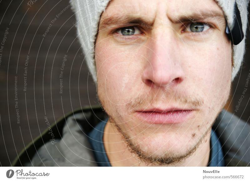 What? Mensch maskulin Junger Mann Jugendliche Erwachsene Leben Gesicht 1 18-30 Jahre Mode Mütze Bart Dreitagebart Gefühle authentisch gefährlich Stress
