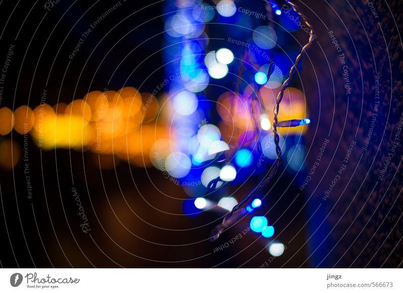 Light bubbles / Licht Bläschen blau Stadt Weihnachten & Advent weiß Farbe schwarz gelb kalt Wärme Wand Mauer hell gold glänzend leuchten Design