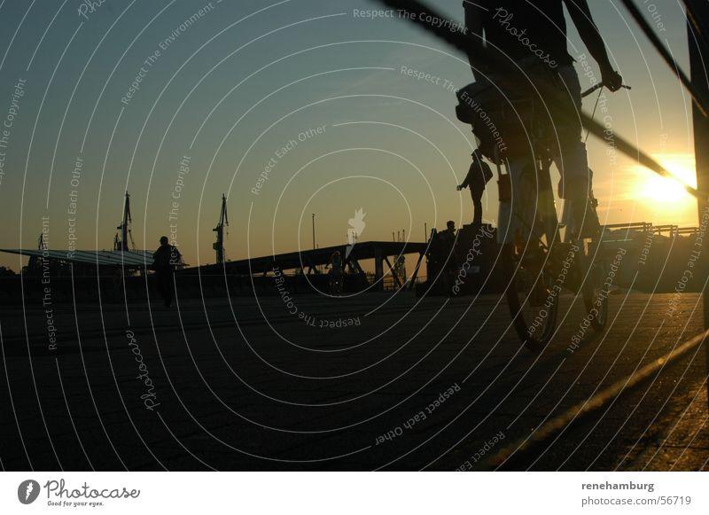 Abendstimmung am Hafen Sonnenuntergang Abenddämmerung Sommerabend Fahrrad Hamburg Himmel
