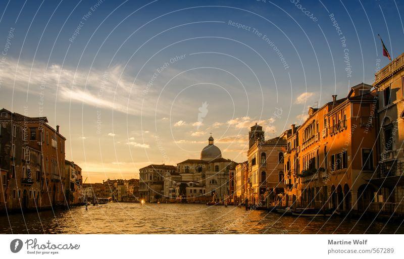 golden Venice Venedig Italien Europa Dorf Stadt Haus Ferien & Urlaub & Reisen Canal Grande Farbfoto Außenaufnahme Abend Sonnenaufgang Sonnenuntergang