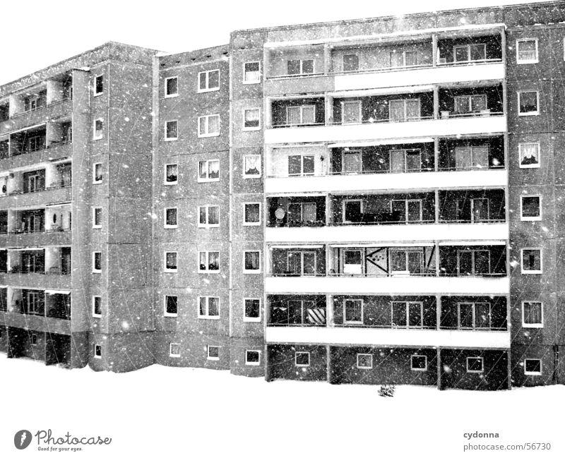 Wenns doch schon Frühling wär... Winter Block Plattenbau Haus Mieter Balkon einzigartig Schneefall trist retro Wohnung Zusammensein individual Leben Blick DDR