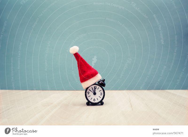 Weihnachtszeit Stil Design Dekoration & Verzierung Uhr Feste & Feiern Weihnachten & Advent Mütze Zeichen Kitsch lustig rot Vorfreude Pünktlichkeit Stress Idee