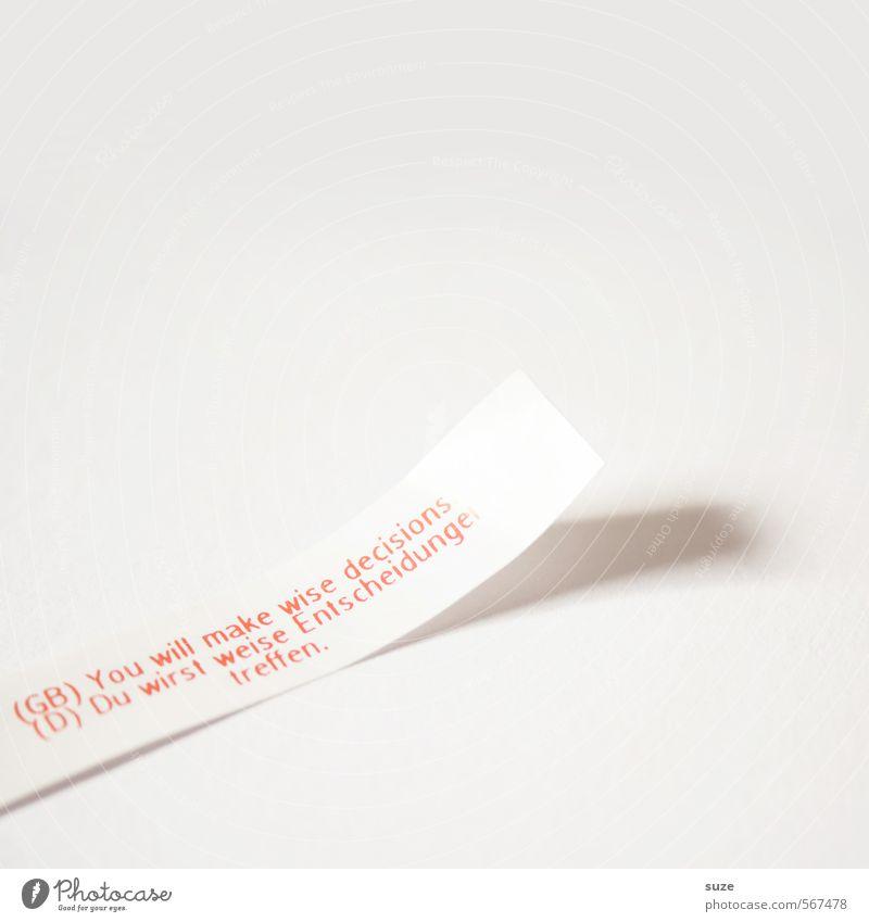 Nichts als die reine Wahrheit Glück Papier Zettel Schriftzeichen einfach hell rot weiß Vorfreude Weisheit Überraschung Tradition Zukunft Glückskeks Wahrsagerei