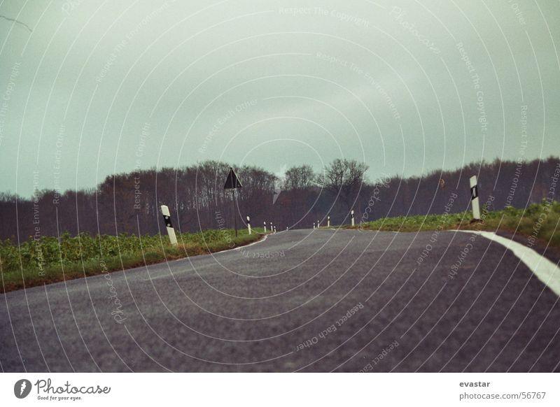 herbst gewitter zieht auf Asphalt Seitenstreifen Wege & Pfade Straße Freiheit Landschaft Himmel