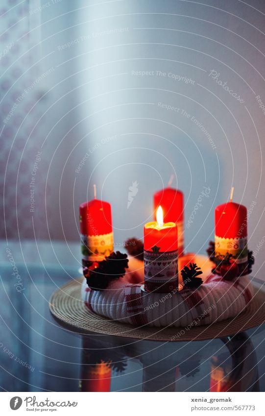 Advent Häusliches Leben Feste & Feiern Weihnachten & Advent Dekoration & Verzierung Kerze Schleife Kitsch Krimskrams Souvenir Zeichen Streifen Schnur leuchten
