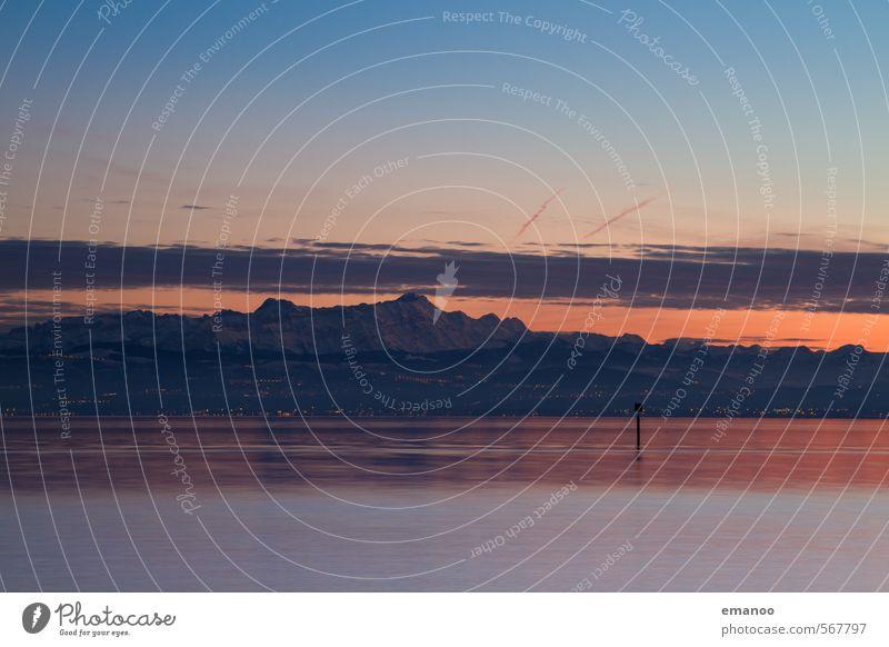 Alpen Abend Himmel Natur Ferien & Urlaub & Reisen blau Wasser Landschaft Wolken Strand Winter Ferne Berge u. Gebirge Schnee See Felsen Horizont Eis