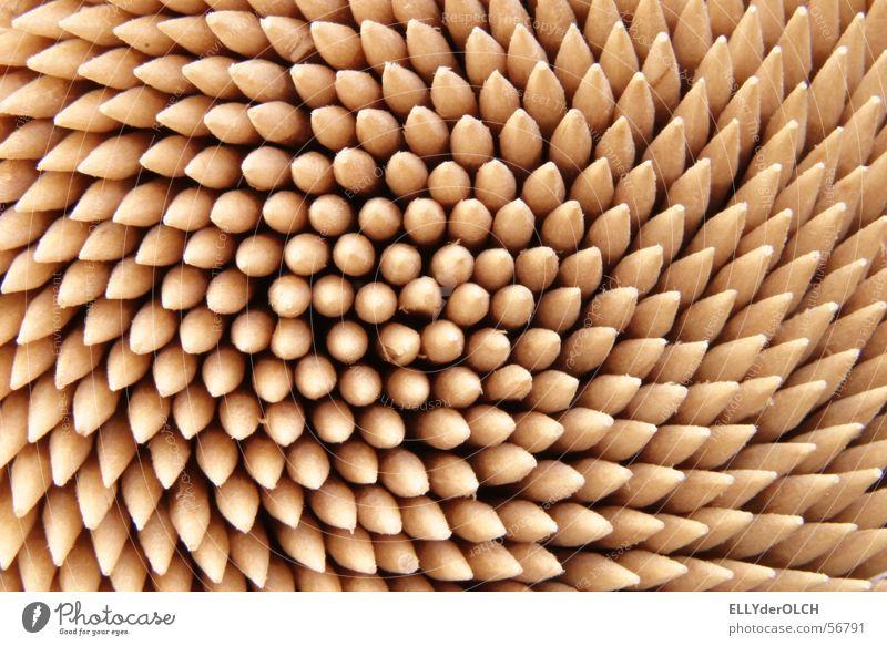 Gebisswerqzeug Zahnstocher stechen Holz rund pulen Zahnarzt Mahlzeit Werkzeug Kräusel kratzen stachelig Zahnzwischenraum Gastronomie Makroaufnahme Nahaufnahme