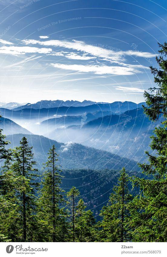 BOB R. Berge u. Gebirge wandern Umwelt Natur Landschaft Himmel Wolken Herbst Schönes Wetter Wald Hügel Alpen ästhetisch kalt Kitsch nachhaltig natürlich blau