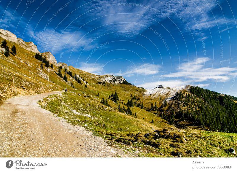 Rotwand Berge u. Gebirge wandern Umwelt Natur Landschaft Himmel Herbst Schönes Wetter Wiese Wald Alpen Gipfel Wege & Pfade Ferne gigantisch hoch nachhaltig