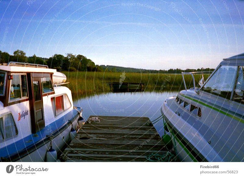 Hausboot Wasser blau See Wasserfahrzeug 2 paarweise Steg