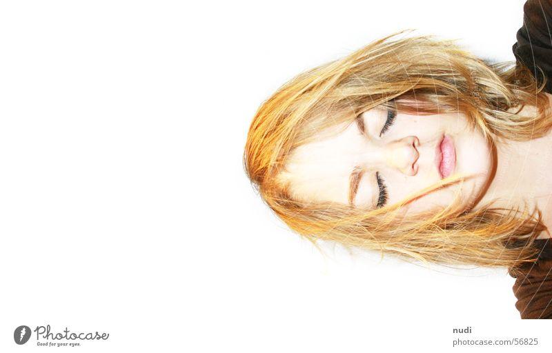 ha es gnusch ka Frau geschlossen schlafen chaotisch verrückt Gesicht Auge Haare & Frisuren Kopf Mund Nase Kontrast woman eyes close sleep hair Irritation