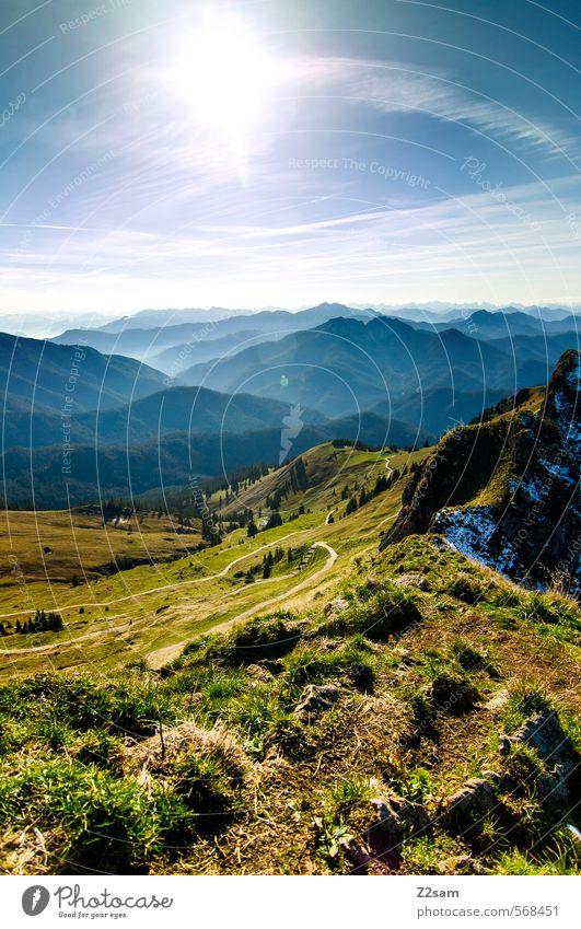 wandertag Himmel Natur blau grün Farbe Einsamkeit Landschaft ruhig Berge u. Gebirge Wiese Herbst natürlich Freiheit Felsen Horizont Idylle