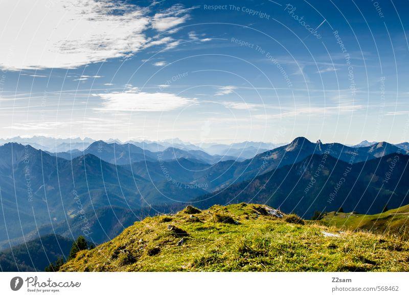 Alpenblick Berge u. Gebirge wandern Natur Landschaft Himmel Herbst Schönes Wetter Gipfel Ferne hoch natürlich Abenteuer Einsamkeit Freiheit Freizeit & Hobby