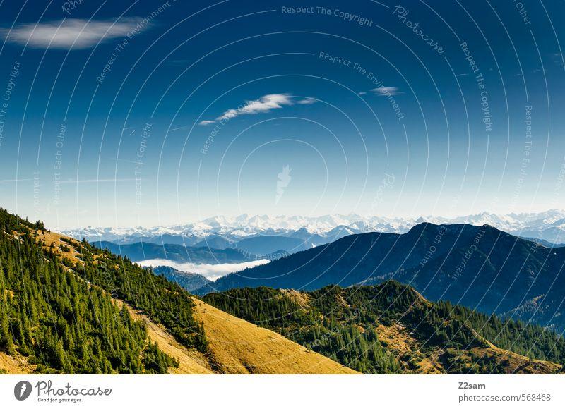 Rotwand Aussicht Himmel Natur blau grün Landschaft Ferne Wald gelb Umwelt Berge u. Gebirge Herbst Freiheit Idylle wandern Perspektive Ausflug