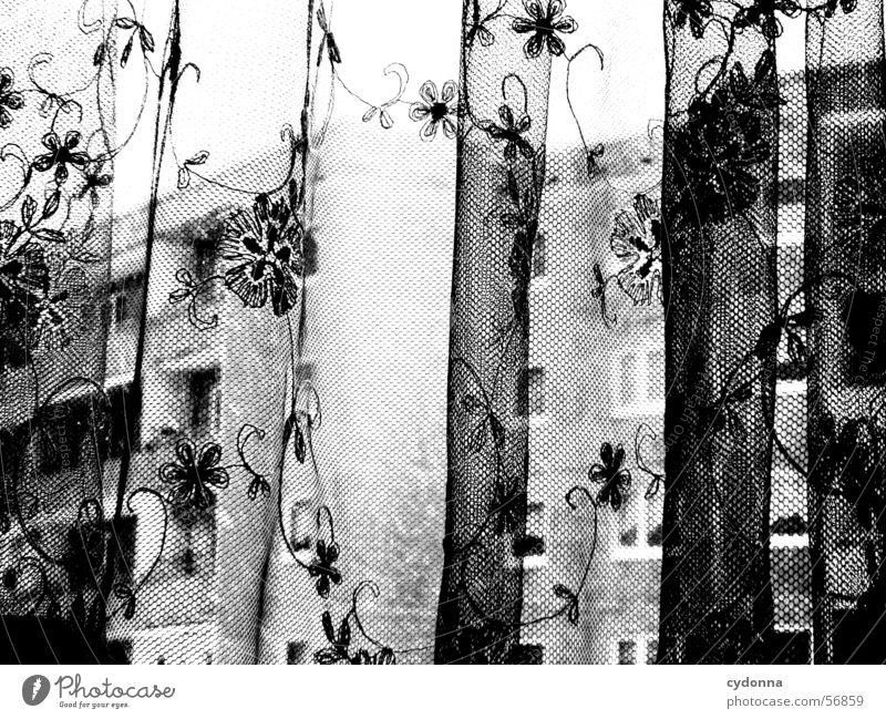 Tristess Einsamkeit Winter Traurigkeit Wohnung Wetter Häusliches Leben beobachten Sturm Gesichtsausdruck Gardine Plattenbau Block Mieter Sinn Aussage