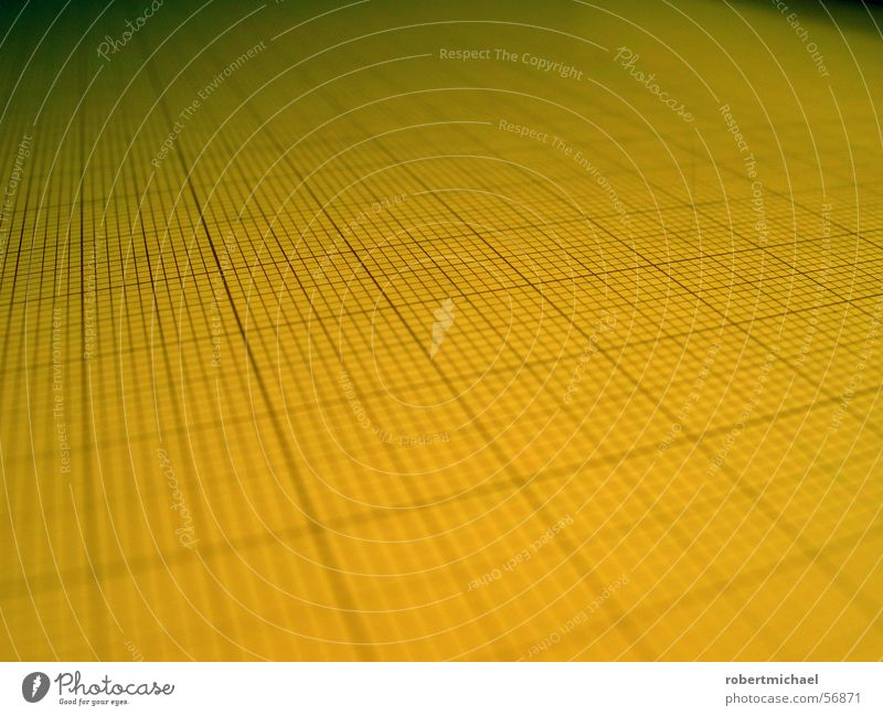 Rasterfahndung 2 gelb Linie Hintergrundbild Perspektive Papier planen Dinge Textfreiraum Quadrat parallel Geometrie Oberfläche Symmetrie Entwurf Anordnung
