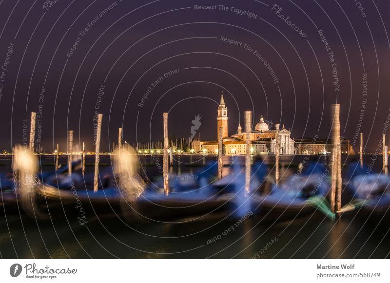 nächtliches Venedig Küste Italien Europa Dorf Stadt Kirche Gondel (Boot) Ferien & Urlaub & Reisen ruhig San Marco Basilica Dämmerung Farbfoto Außenaufnahme