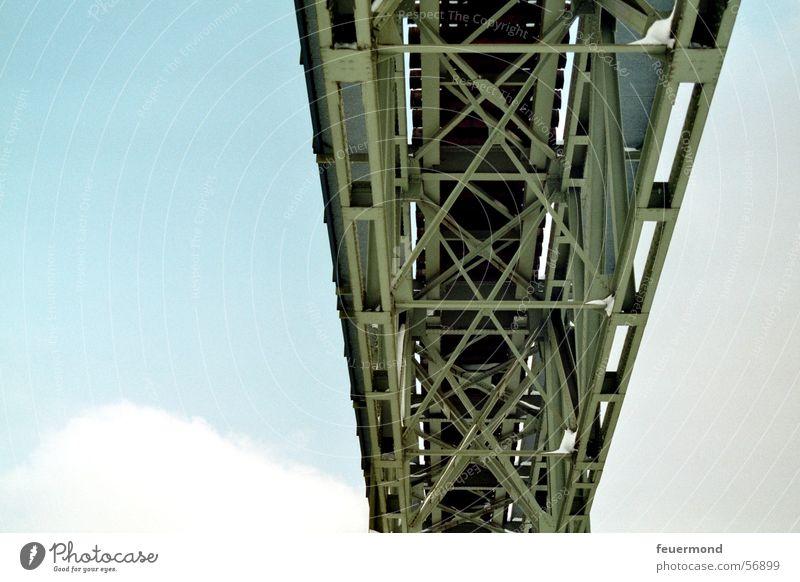Brückenimpression Himmel blau Wolken Eisenbahn Brücke Gleise Stahl freihängend Eisenbahnbrücke
