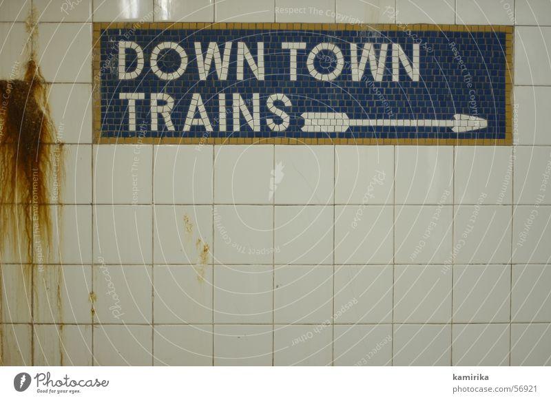 downtown trains Stadt Ferien & Urlaub & Reisen Leben Wand Verkehr Eisenbahn Fliesen u. Kacheln Pfeil London U-Bahn Richtung New York City London Underground Untergrund Mosaik
