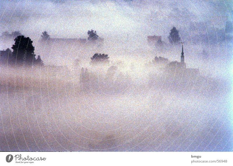 Nebelmorgen Sonne Sommer ruhig kalt Herbst Religion & Glaube Stimmung Frieden Dorf Tal Sachsen Sächsische Schweiz Nebelstimmung Hinterhermsdorf
