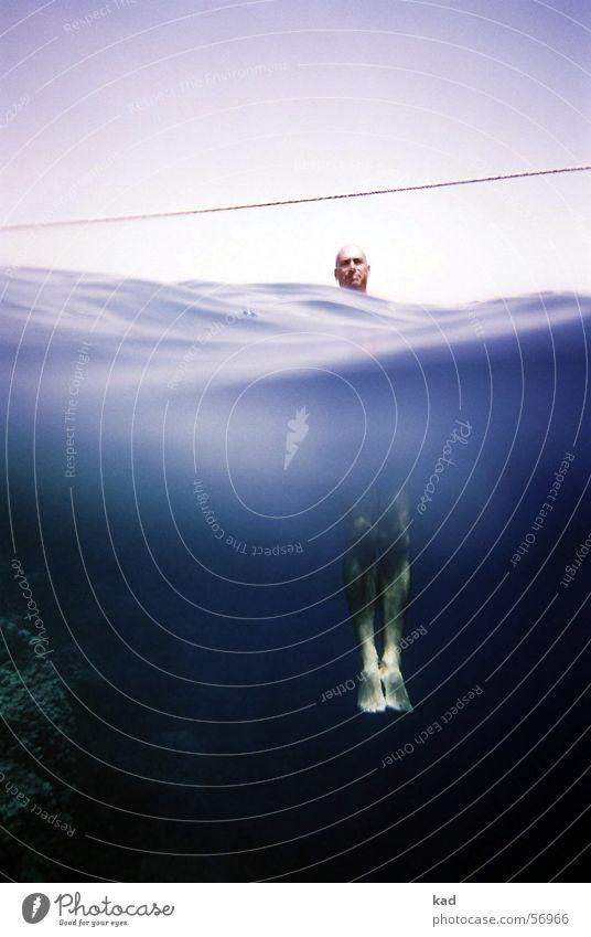 2xKen Wasser Meer blau Sommer Ferien & Urlaub & Reisen oben Kopf Fuß Wellen Seil tauchen unten Teilung Unterwasseraufnahme hängen