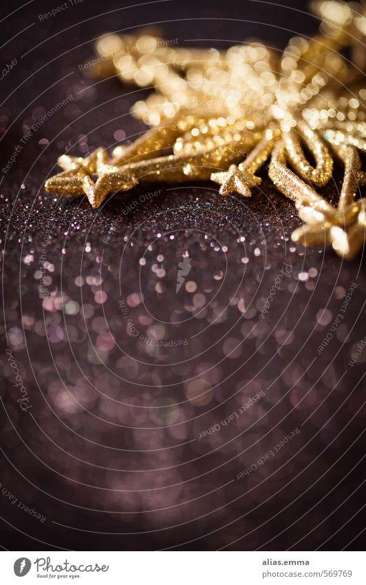 Ein bissel Weihnachten Weihnachten & Advent Stern (Symbol) gold braun dunkel elegant einfach Postkarte Dekoration & Verzierung festlich glänzend Unschärfe