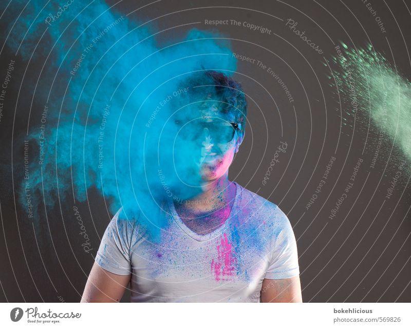 In Your Face 6 Mensch Jugendliche blau grün weiß Farbe 18-30 Jahre Junger Mann Gesicht Erwachsene Farbstoff Haare & Frisuren Feste & Feiern maskulin dreckig T-Shirt