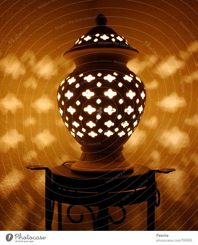 Arabische Nächte schwarz gelb Lampe braun orange Romantik Geschirr