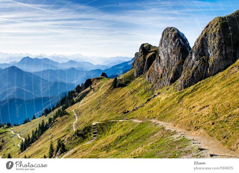 Rotwand Berge u. Gebirge wandern Natur Landschaft Himmel Herbst Schönes Wetter Felsen Alpen Gipfel Ferne hoch natürlich Abenteuer Einsamkeit Freiheit
