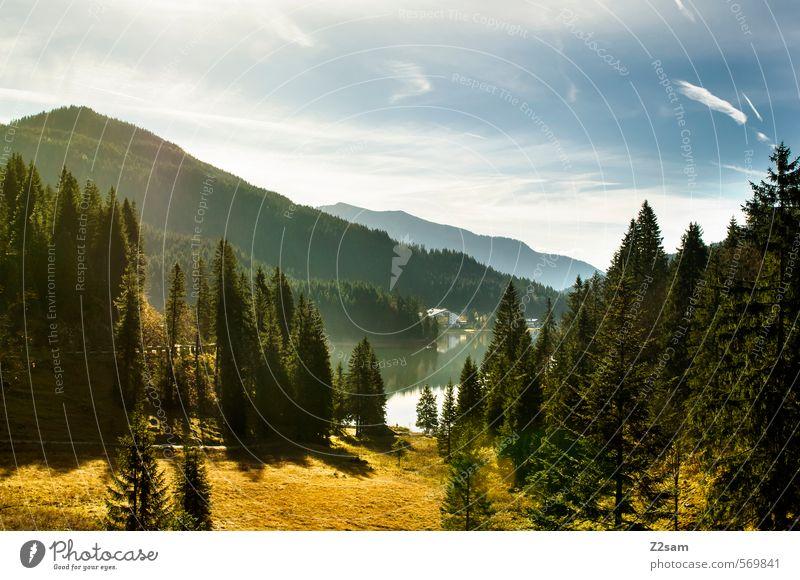 spitzingsee wandern Umwelt Natur Landschaft Himmel Wolken Herbst Schönes Wetter Baum Sträucher Wald Alpen Berge u. Gebirge Seeufer Bach ästhetisch frisch
