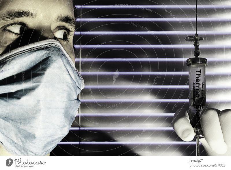 Der Nächste! Spritze Kanüle Gesundheitswesen Impfung Krankenhaus Medikament Angst Schmerz