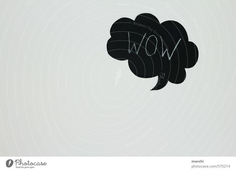 WOW weiß schwarz Gefühle Stil Freizeit & Hobby Textfreiraum Zeichen erstaunt staunen Sprechblase Aussage Ausruf