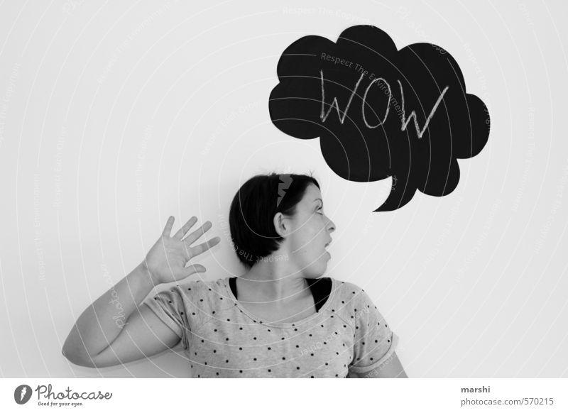 WOW --- WOW Mensch Frau Jugendliche Junge Frau Erwachsene Gefühle feminin Stil Stimmung Freizeit & Hobby Schilder & Markierungen Idee Zeichen Überraschung