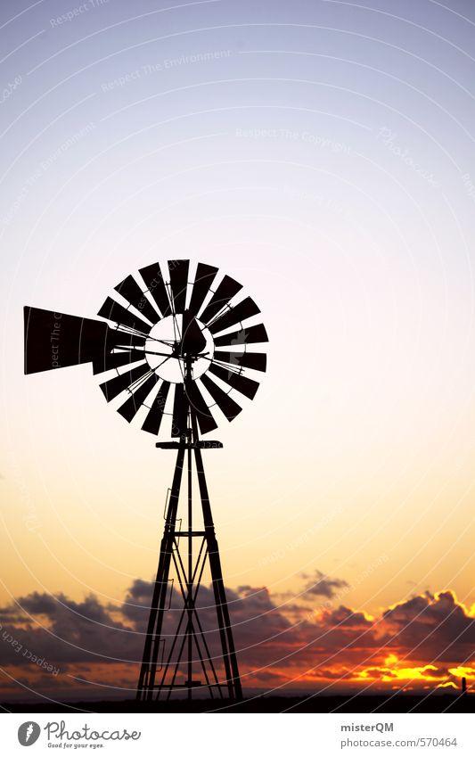 I.love.FV III Kunst ästhetisch Zufriedenheit Fuerteventura Himmel (Jenseits) Sonnenuntergang Romantik Windrad Fernweh Reisefotografie Silhouette Wolken Spanien