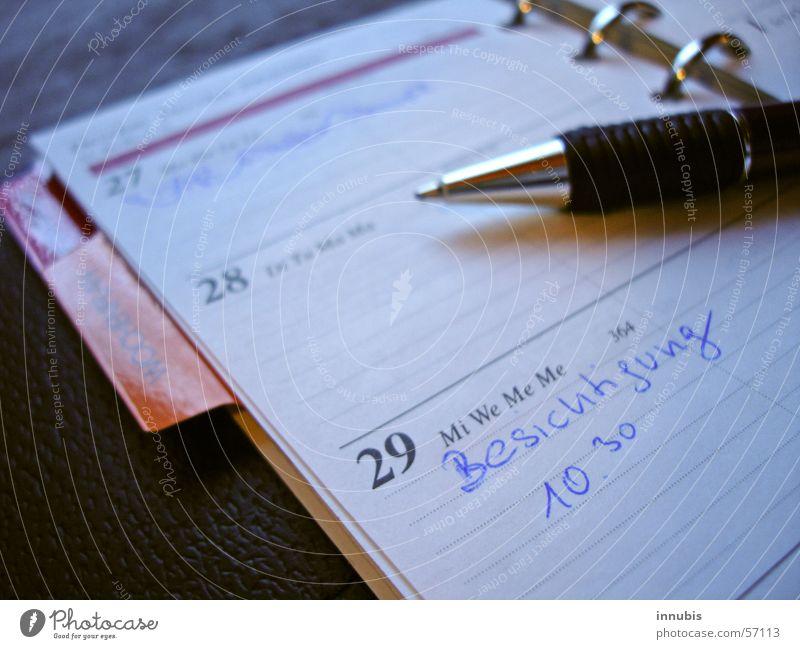 Termine blau Zeit Teilung Kalender Termin & Datum Sightseeing Mappe Kugelschreiber Mittwoch