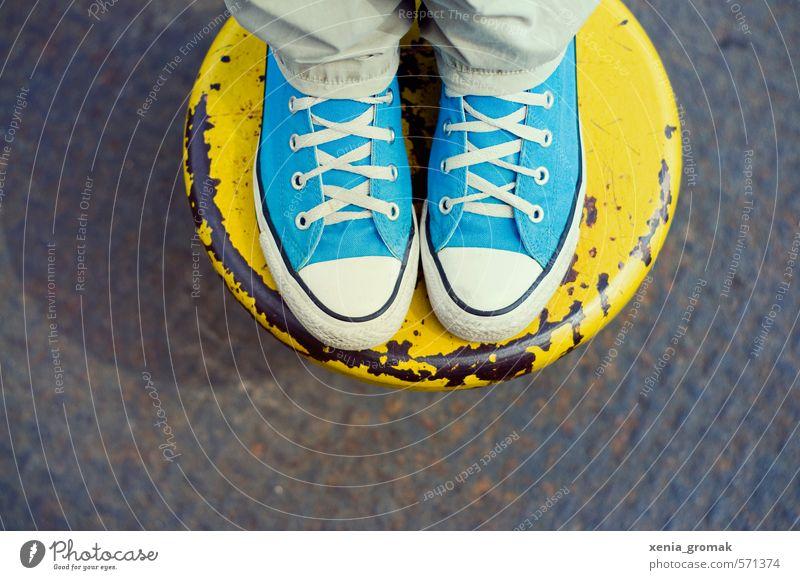 blau-gelb Mensch Ferien & Urlaub & Reisen Sommer Freude Leben feminin Sport Spielen Glück Lifestyle Freiheit Fuß maskulin Zufriedenheit