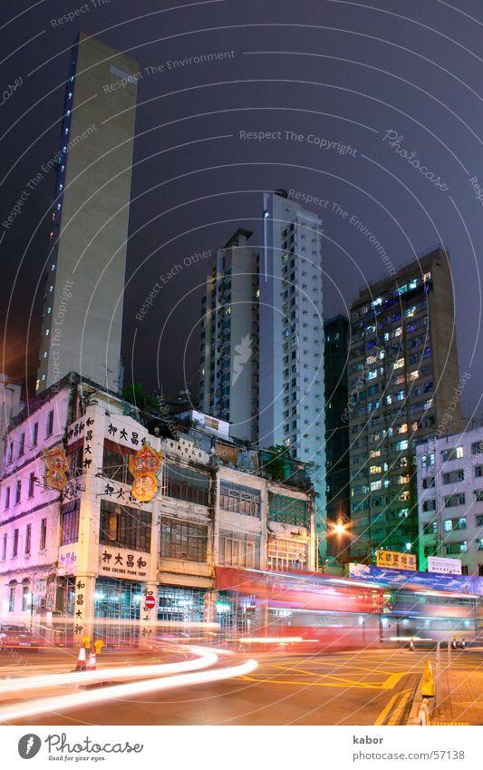 Old Hong Kong Hongkong Gebäude Haus Nacht alt Straße