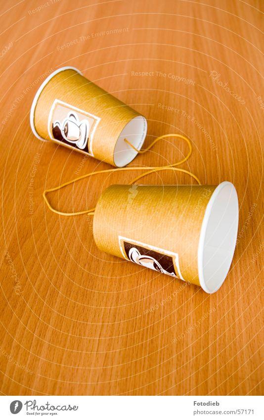 Hörbecher sprechen braun Zusammensein 2 Schnur Telefon Kaffee hören Verbindung Trennung Basteln Becher