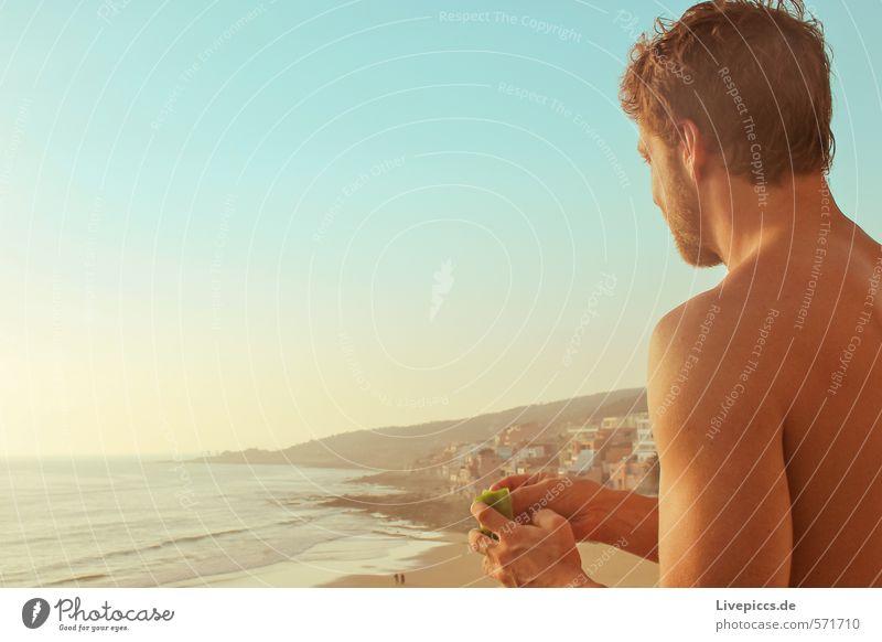 ...kochen mit Ausblick Mensch Himmel Natur Ferien & Urlaub & Reisen Sommer Sonne Meer Landschaft ruhig Haus Strand Erwachsene Umwelt Küste Freiheit maskulin