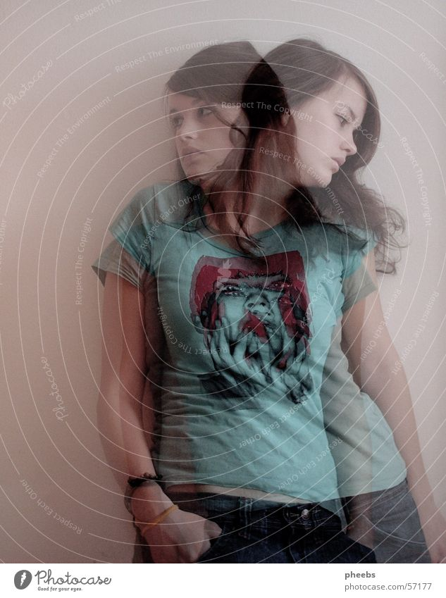 shadow I Frau Mensch Jeanshose T-Shirt Erscheinung Geister u. Gespenster Doppelbelichtung Verlauf