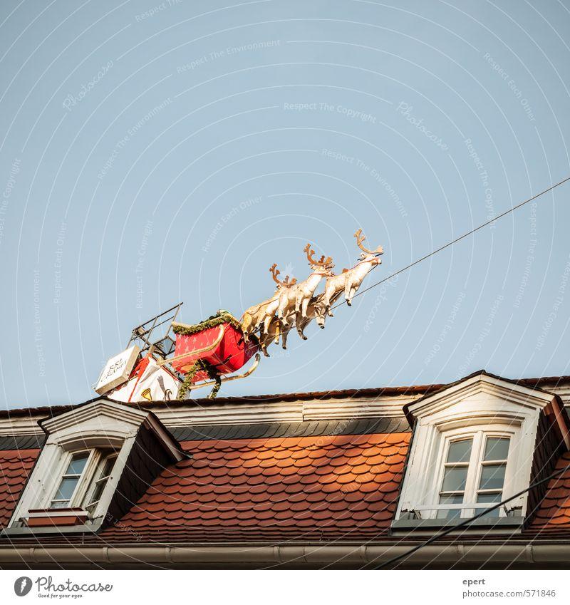 Santa Claus is coming to town Theaterschauspiel Veranstaltung Show Haus Fenster Dach Weihnachten & Advent Weihnachtsmann Dekoration & Verzierung Schlitten