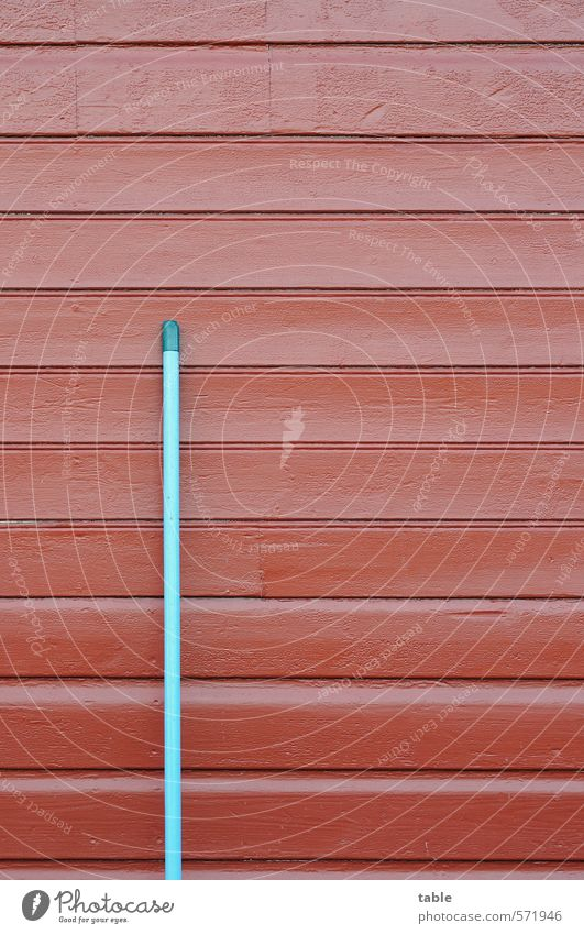 Laubenpiepers Joystick . . . blau alt rot Einsamkeit ruhig Haus Wand Holz Linie Garten Freizeit & Hobby trist stehen warten einzeln Sauberkeit