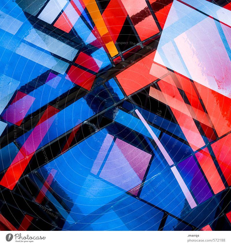 1800 | Fenster Lifestyle elegant Stil Design Kunst Glas Linie außergewöhnlich trendy einzigartig modern schön verrückt blau violett orange rot schwarz chaotisch