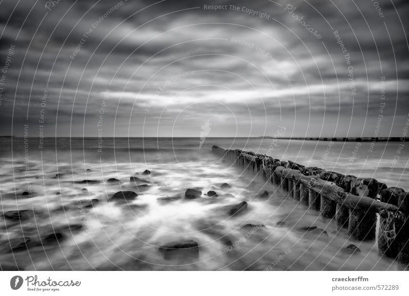 Hysterischer Xaver Natur Ferien & Urlaub & Reisen alt weiß Wasser Wolken Strand schwarz dunkel kalt Gefühle Holz Stein Wind Insel nass