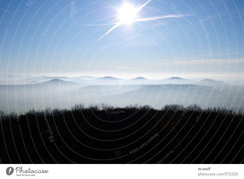 Herbst Himmel Natur blau weiß Erholung Landschaft ruhig Wald Berge u. Gebirge Leben Freiheit Luft Idylle Nebel Zufriedenheit