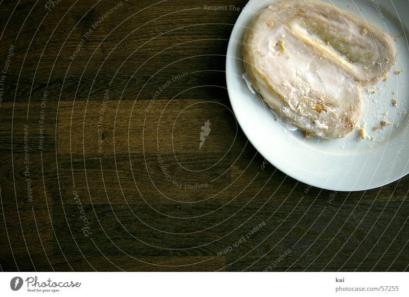 Zuckerschlecken 1 süß Kuchen lecker Teller Backwaren Krümel Schweineohr Tellerrand Fotoserie
