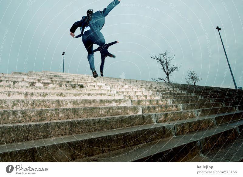 synchronspingen Fitness Sport-Training Arbeit & Erwerbstätigkeit Beruf Wirtschaft Börse Mensch maskulin Körper 2 springen Treppe aufwärts Straßenbeleuchtung